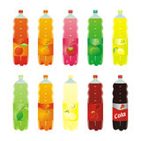 Isolated carbonated drinks set. Vector illustration of isolated carbonated drinks set Stock Photos