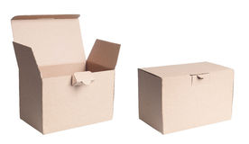Isolated Cardboard Box. Isolated photo of a cardboard box, both open and closed. The box is used as a gift or cargo box. Tow boxes are matched for layered usage Stock Photography
