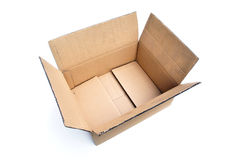 Isolated Cardboard Box. A Isolated Photo of an open Cardboard Box ready to be use for packaging Stock Image