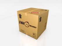 Isolated cardboard box on white background Royalty Free Stock Photos