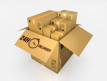 Isolated cardboard box on white background Stock Photo
