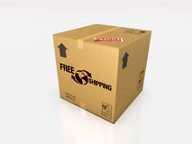 Isolated cardboard box on white background Royalty Free Stock Image