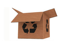 Isolated cardboard with recycle symbol Stock Photography