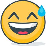 Isolated carried away emoticon. Isolated emoticon. Isolated carried away emoticon. Isolated vector emoticon Royalty Free Stock Images
