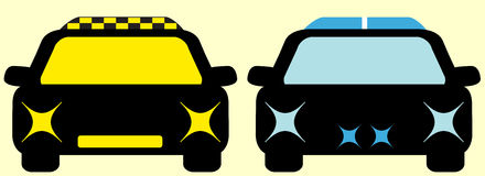 Isolated cars - taxi and police Stock Image
