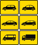 Isolated cars on yellow buttons Royalty Free Stock Photo