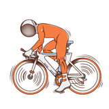 Isolated cartoon astronaut futuristic bicycle race Royalty Free Stock Photography