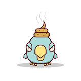 Isolated cartoon blue little bird get lucky on his head Stock Photos