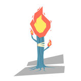 Isolated cartoon blue torch tree light up your day Royalty Free Stock Images