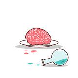 Isolated cartoon brain on plate and blue chemical Royalty Free Stock Images