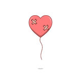 Isolated cartoon broken heart love balloon Royalty Free Stock Images