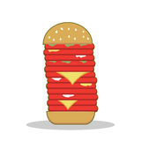Isolated cartoon burger tower red meat Royalty Free Stock Photography