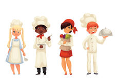 Isolated cartoon children chefs in hats and uniform. Children chefs cartoon vector illustration isolated on white background. Set of chef kids standing, serving Stock Photos
