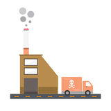 Isolated cartoon cigarette factory delivery flat design Stock Photography