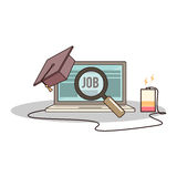 Isolated cartoon college degree online job searching. The Isolated cartoon college degree online job searching Stock Photo