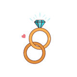 Isolated cartoon diamond wedding ring Royalty Free Stock Images