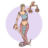 Isolated cartoon evil snake lady justice Stock Photo