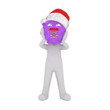 Isolated cartoon figure with grotesque purple mask Stock Photo