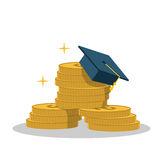 Isolated cartoon gold coin and expensive education. The Isolated cartoon gold coin and expensive education Royalty Free Stock Image