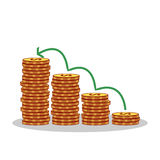 Isolated cartoon gold coin investment growth Royalty Free Stock Image