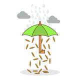 Isolated cartoon investment umbrella Royalty Free Stock Images
