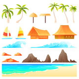 Isolated cartoon landscape constructor. Vector illustration Isolated cartoon landscape constructor set with sample palms reefs waves beach umbrellas boats for stock illustration