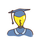 Isolated cartoon light bulb head college graduated Royalty Free Stock Images