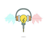 Isolated cartoon light bulb listening music with headphones Stock Photos