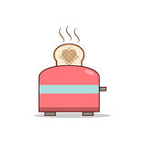 Isolated cartoon making love with toaster stock illustration