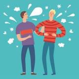 Isolated cartoon male friends telling funny joke. Stock Image