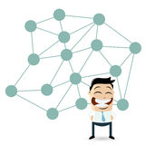 Isolated cartoon man in front of a big network Royalty Free Stock Image
