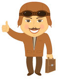 Isolated cartoon man pilot Stock Photography