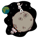 Isolated cartoon moon landing selfie time Royalty Free Stock Photo
