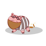 Isolated cartoon piggy bang burglar stealing money Stock Images