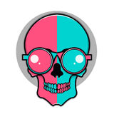 Isolated cartoon red and blue skull Royalty Free Stock Images