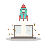 Isolated cartoon rocket and laptop online start up Royalty Free Stock Images