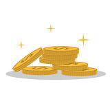 Isolated cartoon shine gold coin Royalty Free Stock Photo