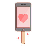 Isolated cartoon smartphone popsicle Royalty Free Stock Photos