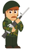 Isolated cartoon soldier Stock Image