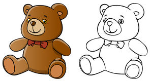 Isolated cartoon teddy bear and coloring Stock Photo