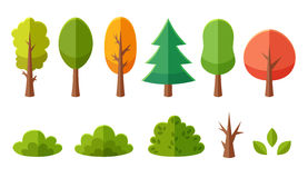 Isolated cartoon trees and bushes pack Royalty Free Stock Photos