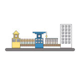 Isolated cartoon urban people life cycle factory. The Isolated cartoon urban people life cycle factory Royalty Free Stock Images