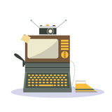 Isolated cartoon vintage television camera iron and typewriter Stock Photos