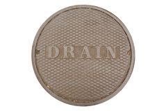 Isolated cast-iron drain cover. Urban cast-iron drain cover Stock Images