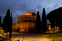 Isolated castel sant angelo notturno, roma, italy Stock Image