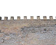 Isolated castle battlements. Exterior of medieval castle showing battlements. isolated on white background Stock Images