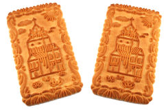 Isolated castle biscuits. Two castle biscuits isolated on white background stock photos