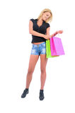 Isolated Casual Girl. Isolated Young Casual Girl With Shopping Bag Stock Images