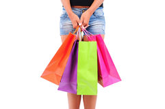 Isolated Casual Girl. Isolated Young Casual Girl With Shopping Bag Stock Photos
