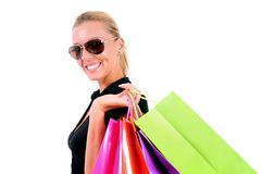 Isolated Casual Girl. Isolated Young Casual Girl With Shopping Bag Stock Photo